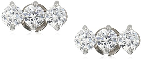 Sterling Silver Cubic Zirconia 3-Stone Linear Stud Earrings
