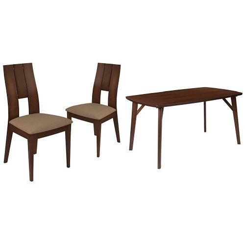 Flash Furniture anderson 5 Piece Walnut Wood Dining Table Set with Curved Slat Keyhole Back Wood Dining Chairs - Padded Seats (5 Piece Slat Back)