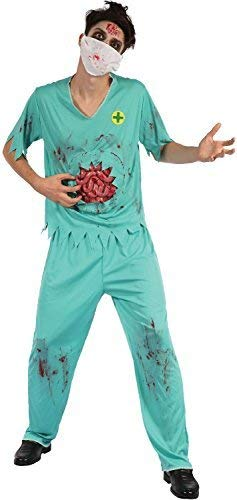Mens Dead Bloody Zombie Surgeon Doctor Halloween Horror Scary Fancy Dress Costume Outfit -