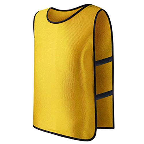Micro Mesh Team Vest Numbered - BOying Nylon Mesh Scrimmage Team Practice Vests Pinnies Jerseys for Children Youth Sports Basketball, Soccer, Football, Volleyball (Yellow)