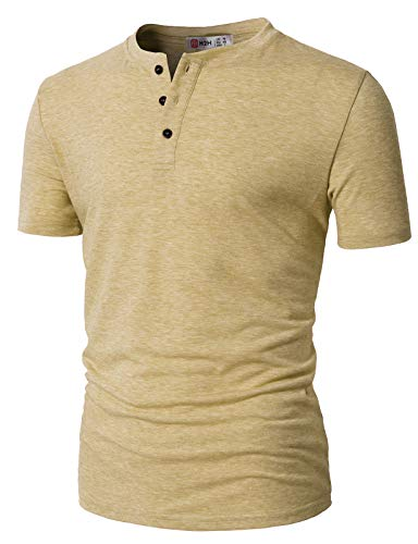 H2H Mens Casual Relaxed Fit Henley Fashoin Shirts with Button Placket Beige US M/Asia L (CMTTS0203)