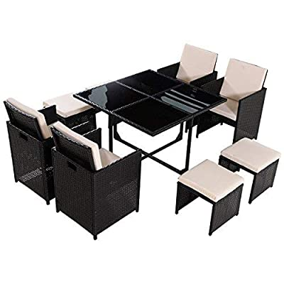 Tangkula 9 PCS Black Patio Garden Rattan Wicker Sofa Set Furniture Cushioned W/Ottoman (Black) - MULTI-PURPOSE: This versatile 9 piece rattan sofa set is ideal for patio, garden, balcony, pools, which can be arranged in a variety of configurations. It's okay for plat outdoor wherever you want, providing stylish and comfortable lounging at affordable price. You will not be disappointed in these high quality built to last wicker. CONSIDERATE CUSHIONS: These cushions are designed for 4 single sofa, 4 ottomans, and thick padded cushions that are covered in a beige fabric topping. These zippered cushions filled with thick cotton for optimal comfort and relaxation. Our wicker sofa will arrive with cushions for added comfort. STURDY & DURABLE: The 9 pcs wicker sofa set are made of steel frame and PE wicker. PE wicker is more resistant to sun, rain, heat, better than traditional wicker material, including 4 single sofa, 4 ottomans, 1 dining table and cushions for chairs, seat with back and seat cushion for comfort. - patio-furniture, dining-sets-patio-funiture, patio - 41%2BUdyzIVtL. SS400  -