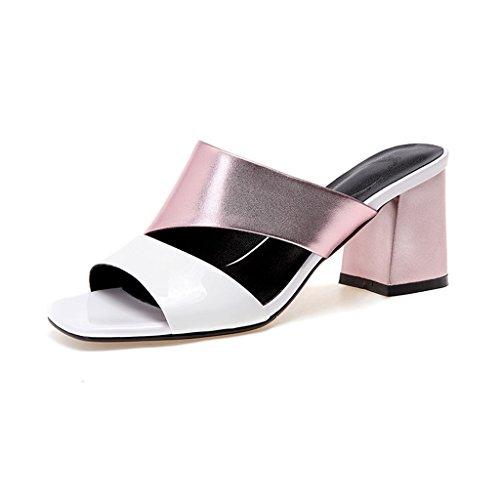 Talons Femme Pantoufles Contre Couleur Extérieure Mode La Rose Rugueux À Chaussures Usure Sandales Hauts Été Lutter qEYwwU