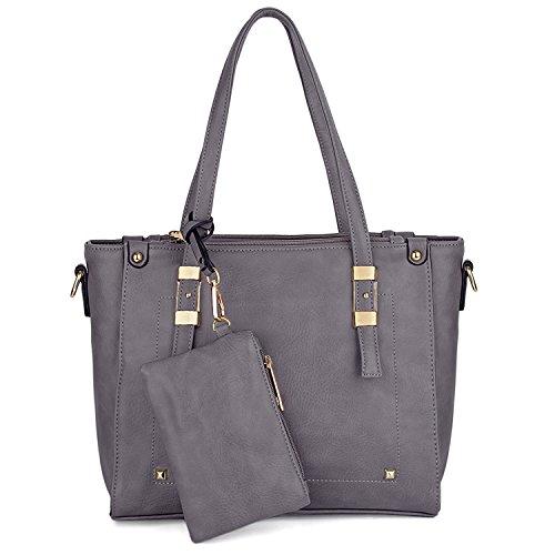 UTO Women Handbag Set 2 Pieces Bag PU Leather Tote Shoulder Purse Bags Wallet Strap B Grey (2 Exterior Pockets)