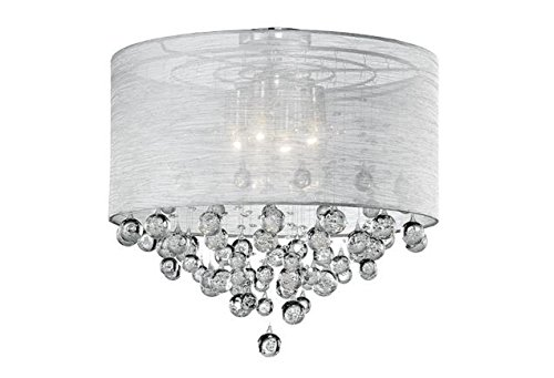 Drum Round Shade 4 Lamp Flush Mount Crystal Balls Ceiling Light Chandelier Dia 21