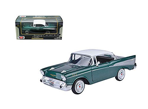 New DIECAST Toys CAR MOTOR MAX 1:24 W/B American Classic 1957 Chevrolet BEL AIR Coupe (Green) 73228AC-GRN ()