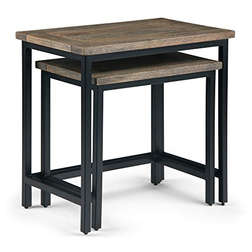 Simpli Home 3AXCSKY-06BH Skyler Solid Mango Wood and Metal 25 inch Wide Industrial 2 Pc Nesting Side Table in Beach Brown, Fully Assembled