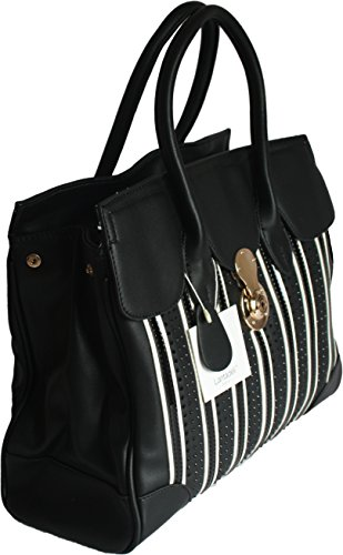 H&G Ladies Designer Tote  Shoulder Handbag with Front Panel & Buckle Detail By Lantadeli - Paris