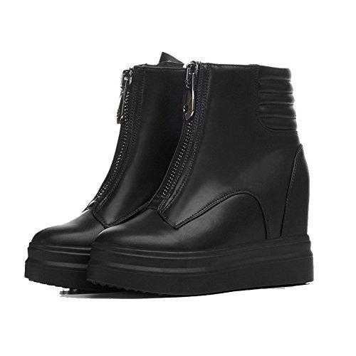 Allhqfashion Dames Low-top Rits Zacht Materiaal Hoge Hakken Ronde Gesloten Neus Laarzen Zwart