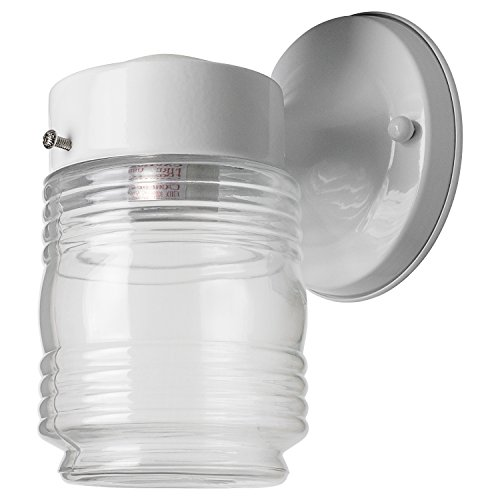 Sunlite ODI1050 7-Inch Wall Mount Jar Outdoor Fixture, White Finish with Clear Glass