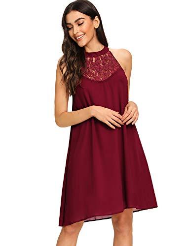 - Floerns Women's Halter Neck Chiffon Tunic Tank Dress T Shirt Dresses Burgundy XL
