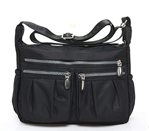 Cross Shoulder Diaper black 1 Casual Black Egogo Bag Messenger Women's Pockets Handbag Body With Muliti E303 Travel 8zXZw