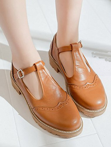Shoes Round Toe Buckled T Casual Comfy Chunky Court Low Aisun Ankle Brown Heels Strap Women's twIaqnvO