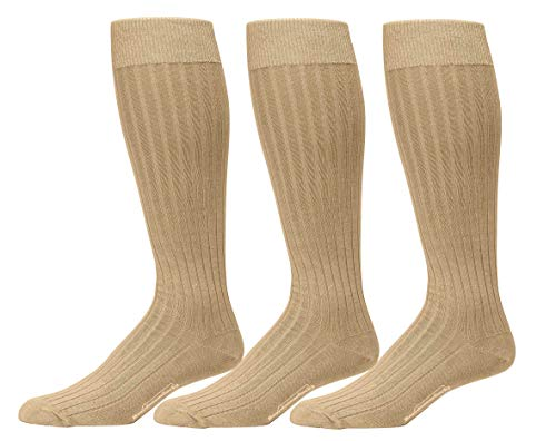 Calf Pima Cotton - Boardroom Socks Men's Over the Calf Pima Cotton Dress Socks, 3 Pairs of Khaki