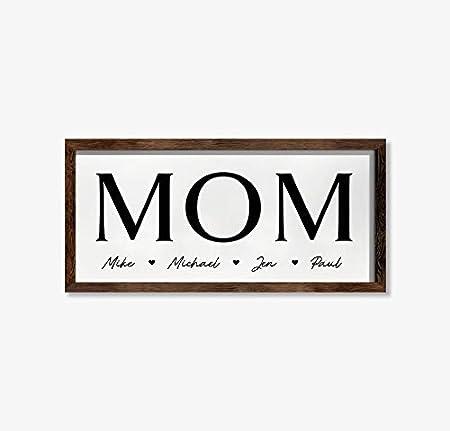 Cartel personalizado de mamá con nombres – Decoración de pared enmarcada de madera – Decoración del hogar – Cartel personalizado para el día de la madre – Regalo para mamá, 20,3 x 30,5 cm