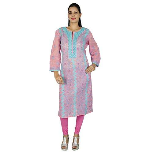 Étnica algodón Kurti diseñador indio de Bollywood Kurta mujeres vestido de la túnica casual Rosa y azul