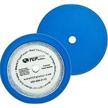 "TCP Global Brand 8"" Blue Medium Foam Grip Pad Light Cut Polish Buff - Hook & Loop"