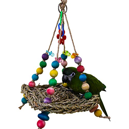 (Natural Bird Parrot Toys Hanging Mini Flying Trapeze Toy for Birds Parrot Swing Bird Cages Toys Seagrass Parrot Bird Hammock)