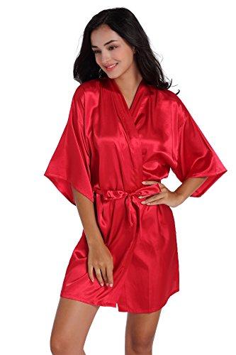 Admireme Women's Kimono Robes Satin Solid Colour (S, Wire Red) ()