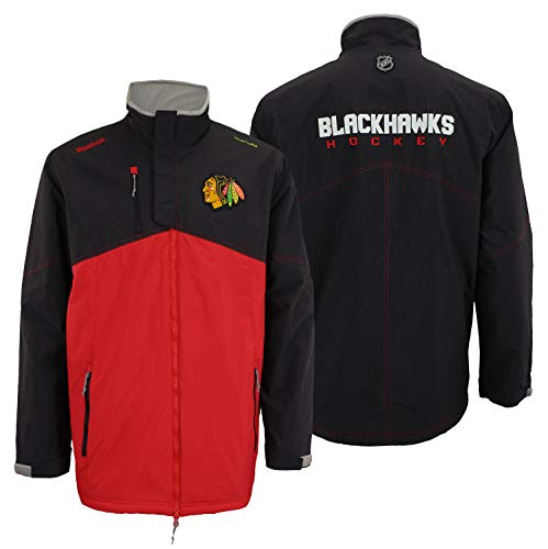 (Reebok Chicago Blackhawks NHL Mens Center Ice Kinetic Fit Full Zip Center Ice Full Zip Premium Midweight Jacket, Black (XX-Large))