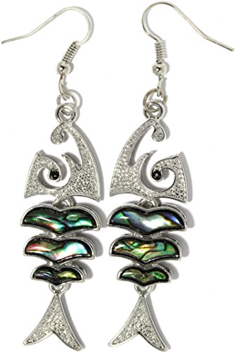 AnsonsImages Bone Fish Nautical Abalone Earrings Multi Color Green Silver Tone (Silver Fish Bone Earrings)