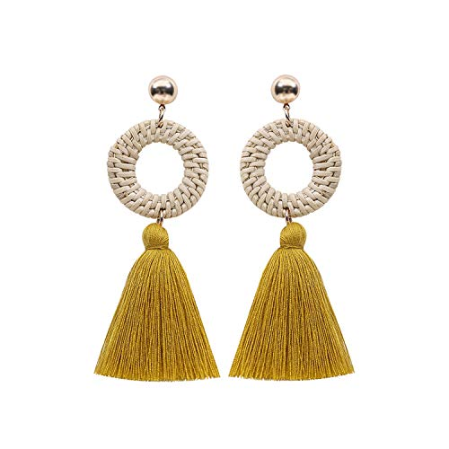 jiemi Bohemian Earrings European and American Explosions Exaggerated Handmade Rattan Tassel Earrings (Yellow)