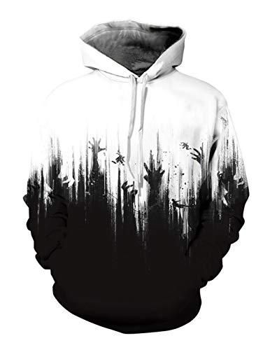 Alistyle Fanient Womens Mens 3D Ghost Hand Printed Halloween Hoodies Sweatshirts Pullover Hooded Shirts ()