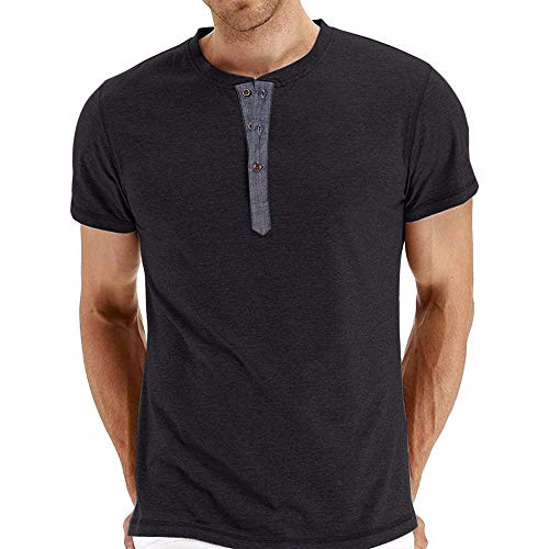 FEITONG Men's Summer Casual Slim Fit Henley Solid Short Sleeve Cotton T-Shirt Top Blouse(Black,XX-Large)