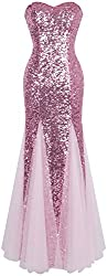 Women's Sleeveless Sequins Evening Dress