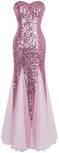 Angel-fashions Women's Sleeveless Blue Sequins Tulle Evening Dress (S, Pink) Blue Sequin Ball Gown