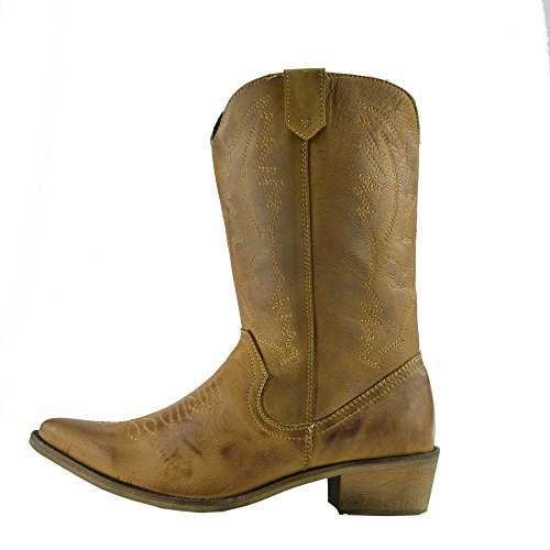 Dames Westerse Lederen Cowboy Laarzen Wees Teen Dames Brede Kuit Laarzen Tan