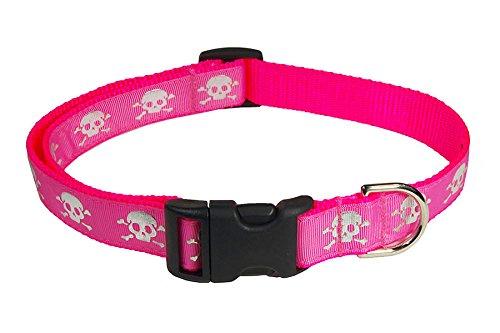 """Sassy Dog Wear 5/8"""" x 10""""-14"""" Reflective Skull Dog Collar, Small, Pink"""