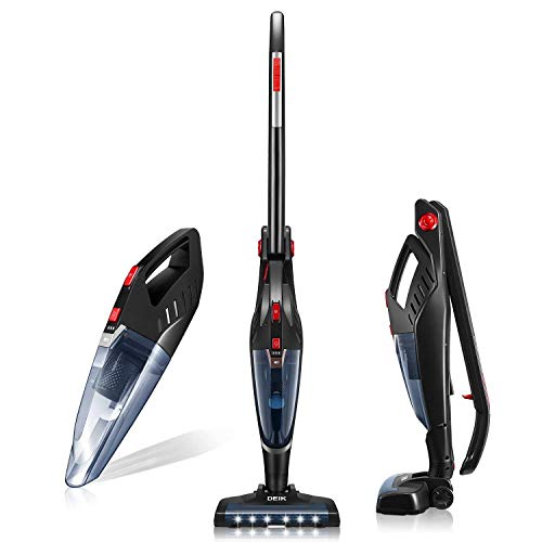 Deik Vacuum Cleaner, Cordless Vacuum Cleaner 2 in 1, Lightweight Stick and Handheld Vacuum, High-Power Rechargeable Bagless Vacuum with Upright Charging Base, Black