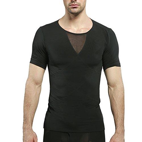 Erica Hommes Compression Col Rond Maillot De Corps Body Shaper T-Shirt Minceur Shapewear Manche Courte