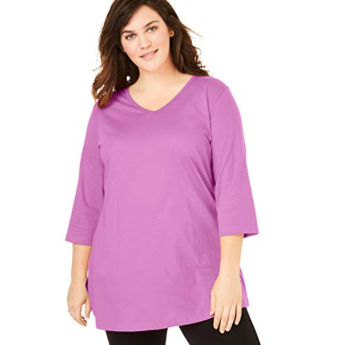 Woman Within Women's Plus Size Perfect V-Neck Three-Quarter Sleeve Tunic - Rose Bud, 1X (The Best Of Buds)