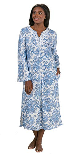 Aria Zip Front Caftan Long Cotton Polyester Lounger in Paisley Motif (Navy Paisley, Large)