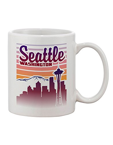 TooLoud Seattle Washington Sunset Printed 11oz Coffee Mug