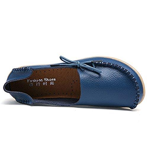 Mocassini In Pelle Da Donna Goeao In Pelle Di Vacchetta Allacciati Casuali Mocassini Da Guida Scarpe Piatte Slip-on Pantofole Blu