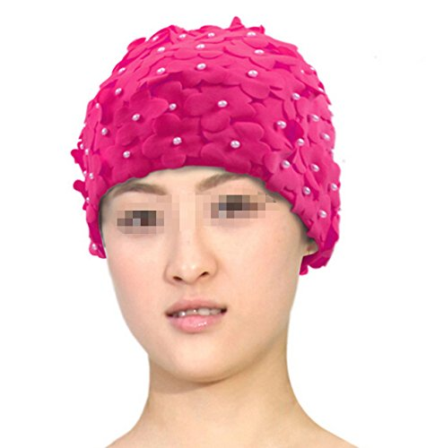 Natuworld Classic Handmade Petals Flowers Design Two Layers Nylon Pure Color Large Long Hair Swim Cap Water Hat for Ladies Women