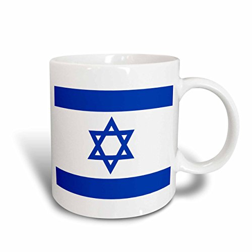 3dRose mug_151420_2 Israeli Flag-Blue and White with Magen David Star-Jewish State of Israel-Judaism-Zionism, Ceramic Mug, 15-Ounce (Israeli Ceramic)