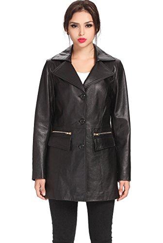 - BGSD Women's Caroline New Zealand Lambskin Leather Walking Coat - Black S