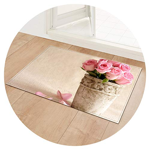 Entrance Mats Non-Slip Table Chair Area Rug Home Bathroom Kitchen Rug Flower Print Doormat Floor Mat Bedroom Carpet,Rose 06,40x120cm