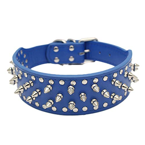 - Dog Collar Pet Dog Supplies PU Leather Punk Rivet Spiked Dog Collar Pet Collars for Middle Large Dog and Cat Blue 56X5cm