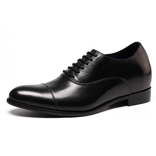 CHAMARIPA Zapatos Negro de oxford hombre de cuero, 7 cm más alto - X92H38-1