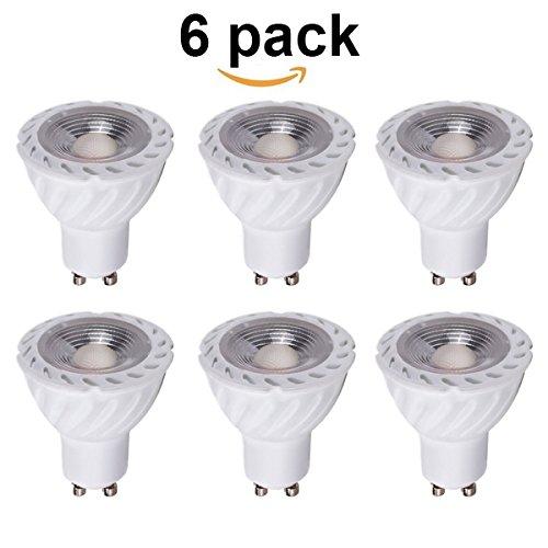NAFA LED 5 watt GU10 LED Bulb, Not Dimmable, 50 watt Equivalent, GU10 COB LED Spotlight Flood Bulb, 90 Degrees, AC 85-265V, Recessed Lighting,GU10 Track Lighting(Pack of 6) (Cool White)