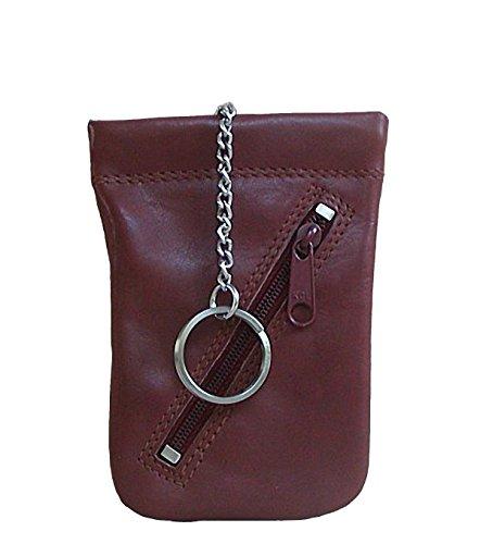 Bianci Leder Schlüsseltasche braun, 1 Hauptfach mit Spannfeder, 1 Ring, 1 RV-Tasche, ca. 7,3x11 cm