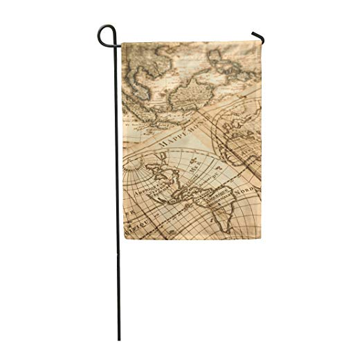 (Tarolo Decoration Flag Old World Map of Antique America Brazil Central Century Create Thick Fabric Double Sided Home Garden Flag 12