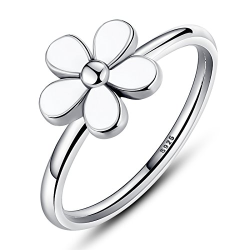 Vintage Silver Flower - BAMOER 925 Sterling Silver Vintage Flower Stackable wedding Rings White Enamel For Women Size 6-9 (7)