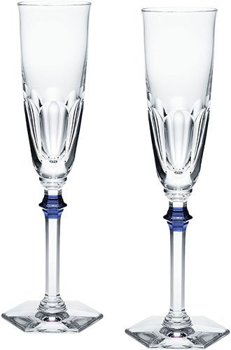 (Baccarat Crystal Eve Harcourt Champagne Flute With Blue Knob Set of)