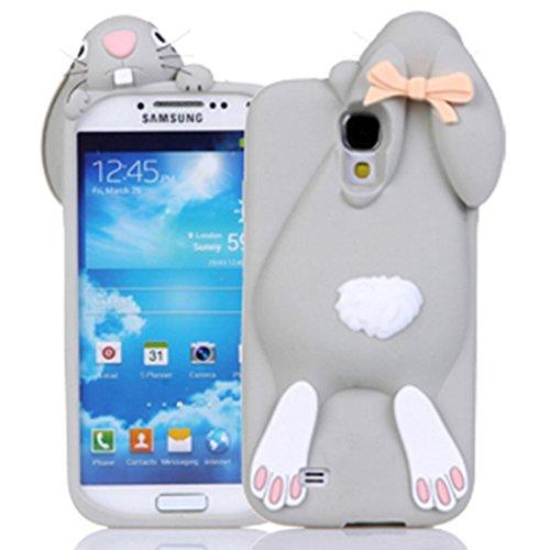 Sunroyal® Samsung Galaxy S4 i9500 i9505 / S IV GT-i9500 Funda TPU Carcasa Caso Manga de Premium Flip Soft Silicona Divertido Dulce Buck Dientes del Rabbit Conejo de la Caja Linda Suave del Teléfono Mó Color3